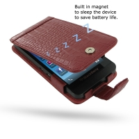 BlackBerry Z10 Leather Flip Case (Red Croc Pattern) PDair Premium Hadmade Genuine Leather Protective Case Sleeve Wallet