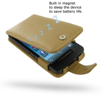 BlackBerry Z10 Leather Flip Case (Tan) PDair Premium Hadmade Genuine Leather Protective Case Sleeve Wallet
