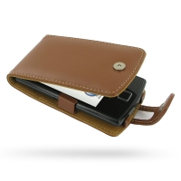 Garmin nuvifone A50 Leather Flip Case (Brown) PDair Premium Hadmade Genuine Leather Protective Case Sleeve Wallet