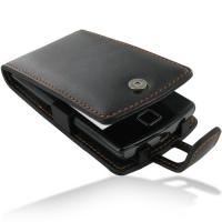 Garmin nuvifone A50 Leather Flip Case (Orange Stitch) PDair Premium Hadmade Genuine Leather Protective Case Sleeve Wallet