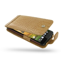 HTC Butterfly Leather Flip Case (Brown Croc Pattern) PDair Premium Hadmade Genuine Leather Protective Case Sleeve Wallet