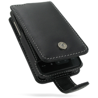Leather Flip Case for HTC HD Mini T5555/HTC Photon (Black)