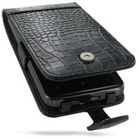 HTC HD7 T9292 Leather Flip Case (Black Croc Pattern) PDair Premium Hadmade Genuine Leather Protective Case Sleeve Wallet
