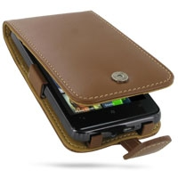 HTC HD7 T9292 Leather Flip Case (Brown) PDair Premium Hadmade Genuine Leather Protective Case Sleeve Wallet