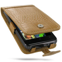 HTC HD7 T9292 Leather Flip Case (Brown Croc Pattern) PDair Premium Hadmade Genuine Leather Protective Case Sleeve Wallet