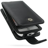 Leather Flip Case for HTC Hero (Black)
