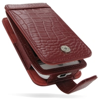Leather Flip Case for HTC Hero (Red Crocodile Pattern)