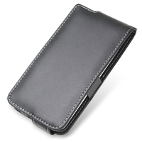 Leather Flip Case for HTC J ISW13HT (Black)