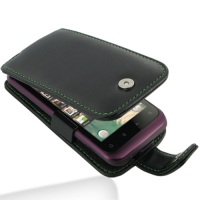 HTC Rhyme Leather Flip Case (Green Stitch) PDair Premium Hadmade Genuine Leather Protective Case Sleeve Wallet