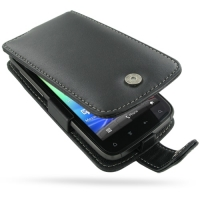 HTC Sensation XE Leather Flip Case (Black) PDair Premium Hadmade Genuine Leather Protective Case Sleeve Wallet