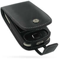 HTC Touch Viva Leather Flip Case (Black) PDair Premium Hadmade Genuine Leather Protective Case Sleeve Wallet