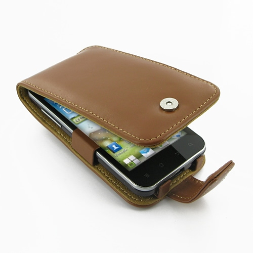 Huawei Honor Leather Flip Case (Brown) PDair Premium Hadmade Genuine Leather Protective Case Sleeve Wallet