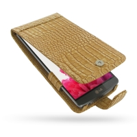 LG G3 Leather Flip Case (Brown Croc Pattern) PDair Premium Hadmade Genuine Leather Protective Case Sleeve Wallet