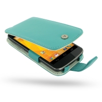 Nexus 4 Leather Flip Case (Aqua) PDair Premium Hadmade Genuine Leather Protective Case Sleeve Wallet
