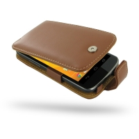 Nexus 4 Leather Flip Case (Brown) PDair Premium Hadmade Genuine Leather Protective Case Sleeve Wallet