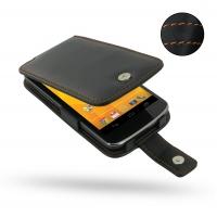 Nexus 4 Leather Flip Case (Orange Stitch) PDair Premium Hadmade Genuine Leather Protective Case Sleeve Wallet