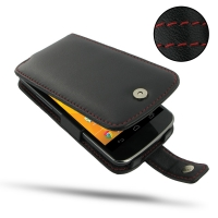 Nexus 4 Leather Flip Case (Red Stitch) PDair Premium Hadmade Genuine Leather Protective Case Sleeve Wallet