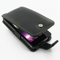 LG Optimus 3D Max Leather Flip Case (Black) PDair Premium Hadmade Genuine Leather Protective Case Sleeve Wallet