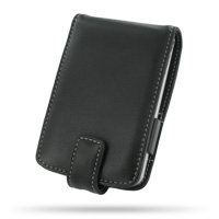 Leather Flip Case for Mitac Mio 168 168RS/Yakumo Delta 300 (Black)