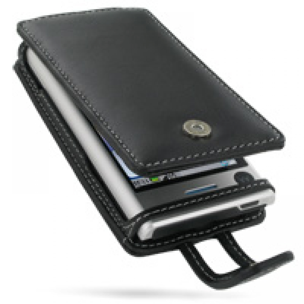 Motorola DEVOUR A555 Leather Flip Case (Black) PDair Premium Hadmade Genuine Leather Protective Case Sleeve Wallet