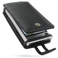 Leather Flip Case for Motorola DEVOUR A555 (Black)