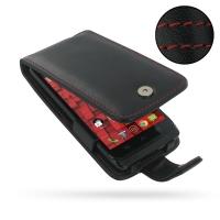 Leather Flip Case for Motorola Droid Mini XT1030 (Red Stitch)