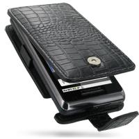 Motorola Milestone 2 / DROID 2 Leather Flip Case (Black Croc Pattern) PDair Premium Hadmade Genuine Leather Protective Case Sleeve Wallet