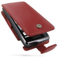 Motorola Milestone 2 / DROID 2 Leather Flip Case (Red) PDair Premium Hadmade Genuine Leather Protective Case Sleeve Wallet