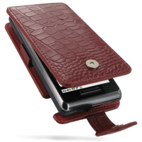 Leather Flip Case for Motorola Milestone 2 A953/DROID 2 A955 (Red Crocodile Pattern)