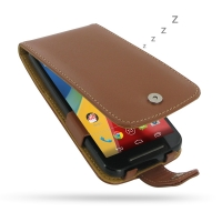 Moto G 2nd Gen Leather Flip Case (Brown) PDair Premium Hadmade Genuine Leather Protective Case Sleeve Wallet