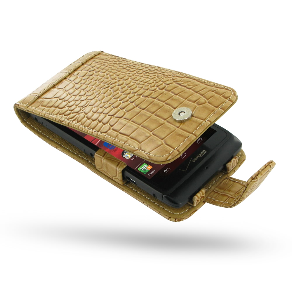 10% OFF + FREE SHIPPING, Buy PDair Top Quality Handmade Protective Motorola Razr i Leather Flip Case (Brown Croc Pattern) online. Pouch Sleeve Holster Wallet You also can go to the customizer to create your own stylish leather case if looking for addition