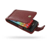 Leather Flip Case for Motorola Razr i XT890 (Red Crocodile Pattern)