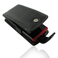 Nokia 500 Leather Flip Case (Black) PDair Premium Hadmade Genuine Leather Protective Case Sleeve Wallet