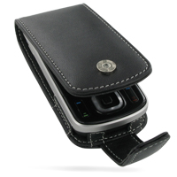 Nokia 6260 Slide Leather Flip Case (Black) PDair Premium Hadmade Genuine Leather Protective Case Sleeve Wallet