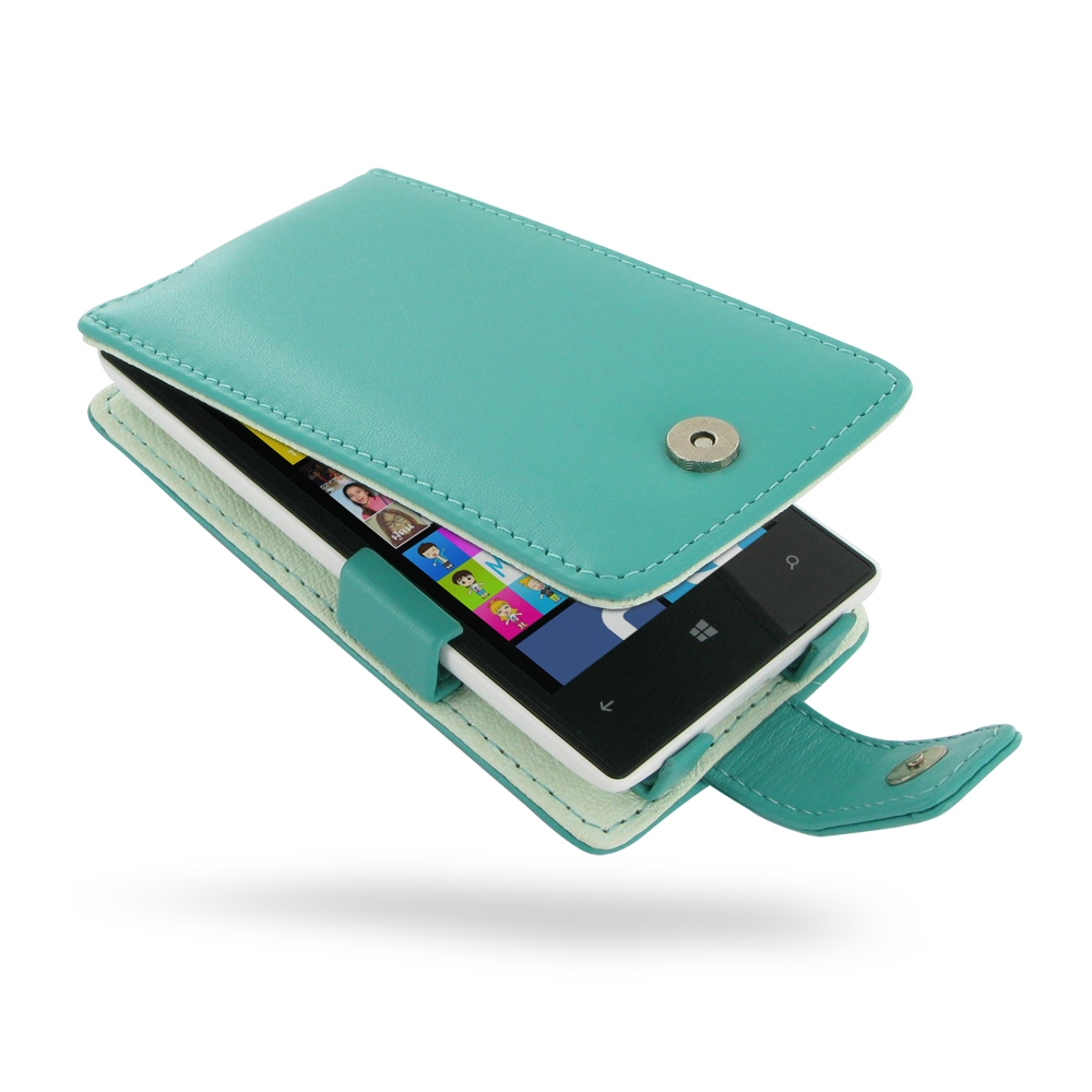 best sneakers bb999 a70be Nokia Lumia 520 Leather Flip Case (Aqua) :: PDair Sleeve Pouch Holster