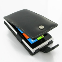 Nokia Lumia 900 Leather Flip Case PDair Premium Hadmade Genuine Leather Protective Case Sleeve Wallet