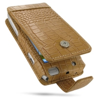 Nokia N8 Leather Flip Case (Brown Croc Pattern) PDair Premium Hadmade Genuine Leather Protective Case Sleeve Wallet
