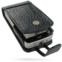 Nokia N96 Leather Flip Case (Black Croc Pattern) PDair Premium Hadmade Genuine Leather Protective Case Sleeve Wallet