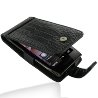 Nokia X7-00 Leather Flip Case (Black Croc Pattern) PDair Premium Hadmade Genuine Leather Protective Case Sleeve Wallet