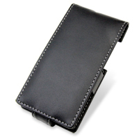 Leather Flip Case for Panasonic Eluga/Docomo P-04D (Black)