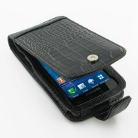 Leather Flip Case for Samsung Captivate Galaxy S SGH-i897 (Black Crocodile Pattern)
