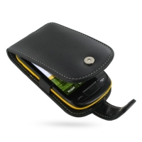 Leather Flip Case for Samsung Corby II S3850 (Black)