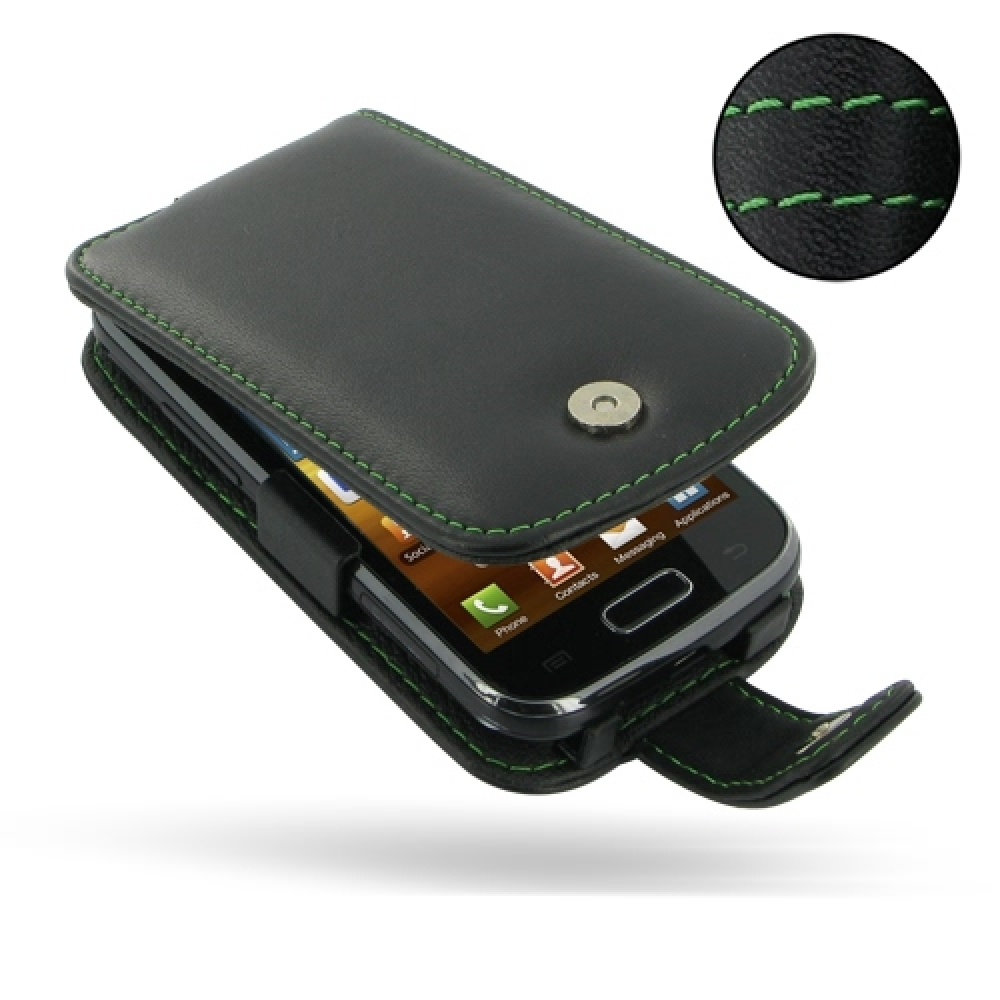 Samsung Galaxy Ace 2 Leather Flip Case Green Stitch