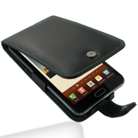 Leather Flip Case for Samsung Galaxy Note GT-N7000 (Green Stitch)