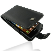 Samsung Galaxy R Leather Flip Case (Black) PDair Premium Hadmade Genuine Leather Protective Case Sleeve Wallet
