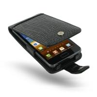 Samsung Galaxy R Leather Flip Case (Black Croc Pattern) PDair Premium Hadmade Genuine Leather Protective Case Sleeve Wallet