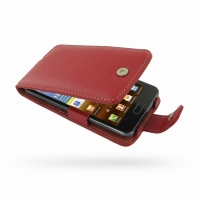 Samsung Galaxy R Leather Flip Case (Red) PDair Premium Hadmade Genuine Leather Protective Case Sleeve Wallet
