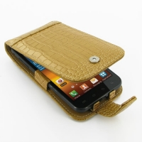 Leather Flip Case for Samsung Galaxy S II Epic 4G Touch SPH-D710 (Brown Crocodile Pattern)