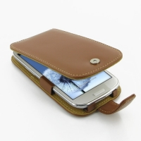 Leather Flip Case for Samsung Galaxy S III S3 GT-i9300 (Brown)