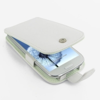 Leather Flip Case for Samsung Galaxy S III S3 GT-i9300 (White)